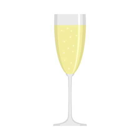 Flat illustration of sparkling champagne  icon for web design. Ilustração