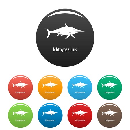 Ichthyosaurus icon. Simple illustration of ichthyosaurus vector icons set color isolated on white