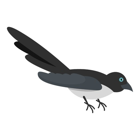 Curious magpie icon. Flat illustration of curious magpie vector icon for web Illustration