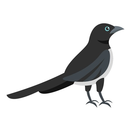 Black magpie icon. Flat illustration of black magpie vector icon for web