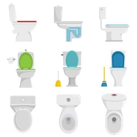Toilet bowl icons set. Flat illustration of 9 toilet bowl vector icons isolated on white Illustration