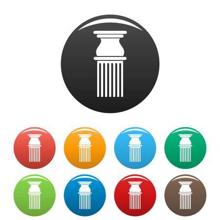 Classical column icon vector set