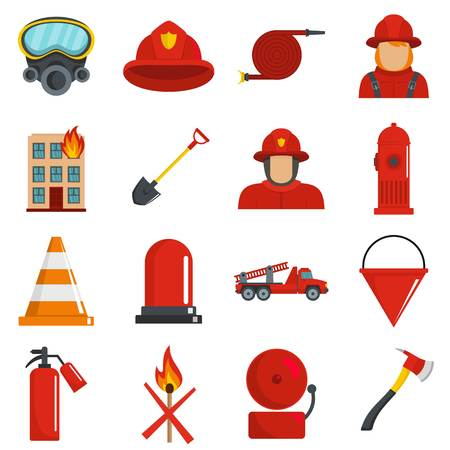 Fire fighter icons set