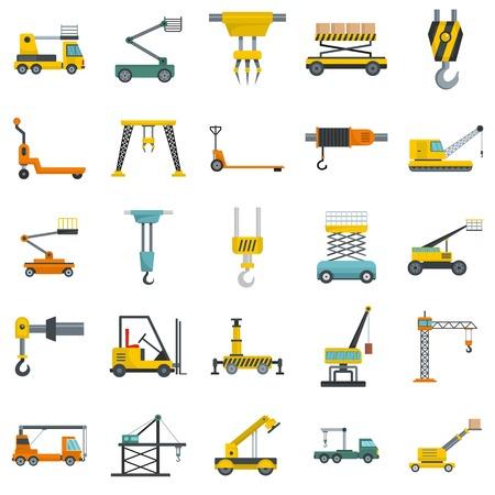 Lifting machine equipment icons set