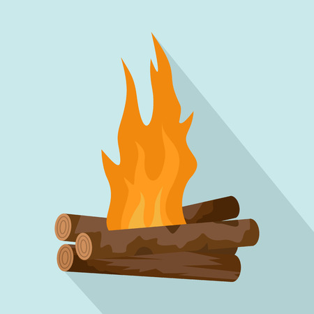 Log cabin fire icon Vectores