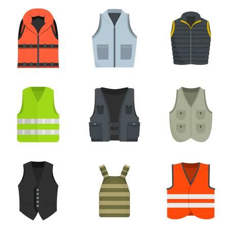 Vest waistcoat jacket icon set. Vector Illustration