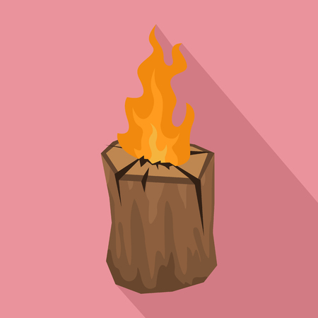 Tree wood fire icon. Stock Illustratie