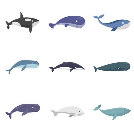 Whale blue tale fish icons set. Flat illustration of 9 whale blue tale fish vector icons isolated on white