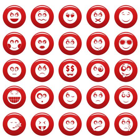 Smile icon set. Simple illustration of 50 smile vector icons red isolated Illustration