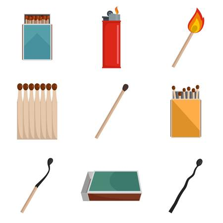 Safety match ignite burn icons set. Flat illustration of 9 safety match ignite burn vector icons isolated on white