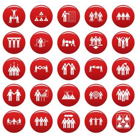 Ensemble d'icônes de formation de travail de renforcement d'équipe. Illustration simple de 25 icônes vectorielles de formation de travail de team building isolé rouge Vecteurs