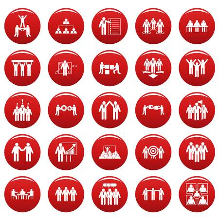 Team building work training icons set. Simple illustration of 25 team building work training vector icons red isolated