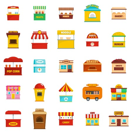 Street food kiosk icons set. Flat illustration of 25 street food kiosk vector icons isolated on white Vectores