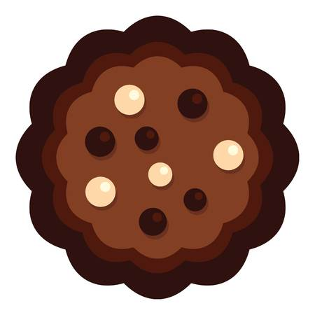 Half chocolate biscuit icon. Flat illustration of half chocolate biscuit vector icon for web