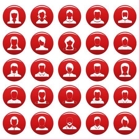 Avatar user icon set. Simple illustration of 25 avatar user vector icons red isolated Illustration