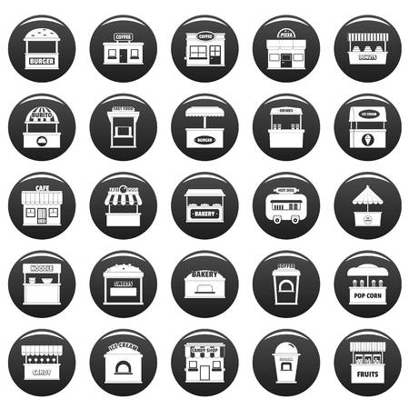 Street food kiosk icons set. Simple illustration of 25 street food kiosk vector icons black isolated Illustration