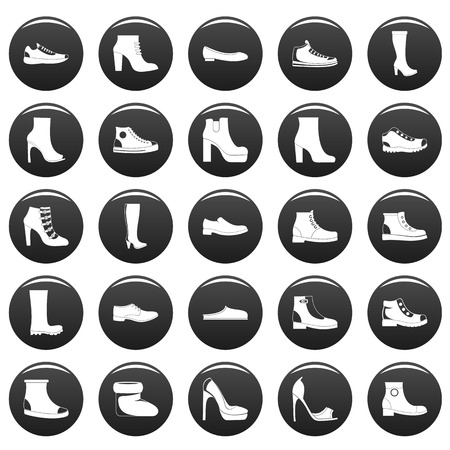 Footwear shoes icon set. Simple illustration of 25 footwear shoes vector icons black isolated