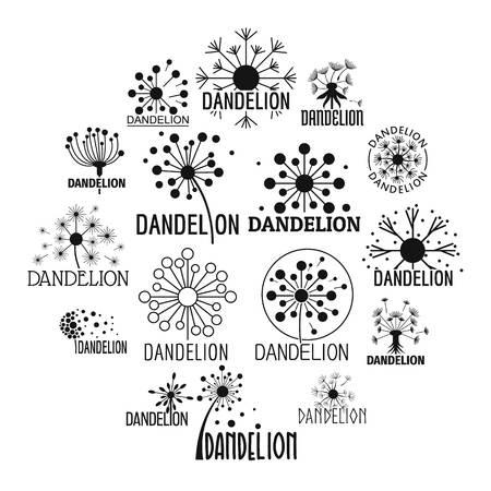 Dandelion logo icons set. Simple illustration of 16 dandelion logo vector icons for web Vectores