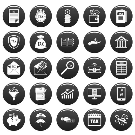 Taxes icons set. Simple illustration of 25 taxes vector icons black isolated
