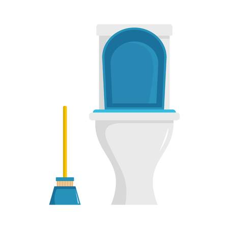 Cleaning toilet icon. Flat illustration of cleaning toilet vector icon for web