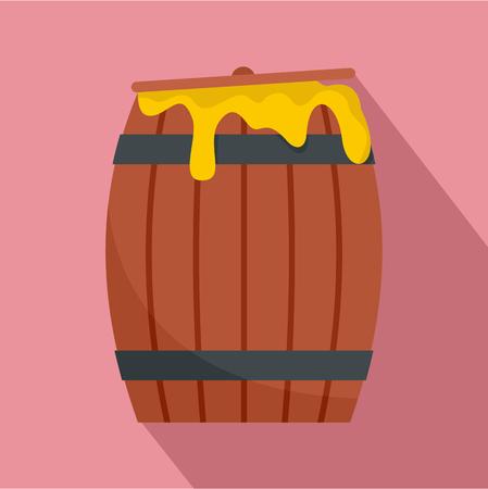 Wood honey barrel icon. Flat illustration of wood honey barrel vector icon for web design Illustration