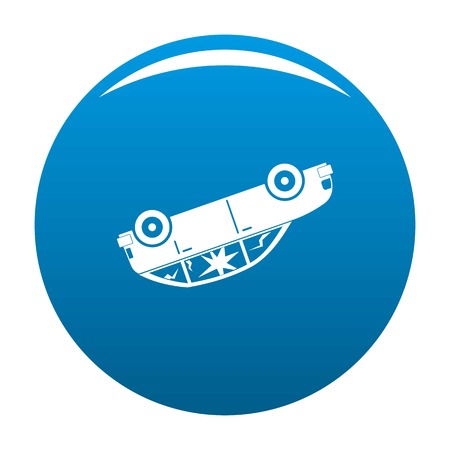 Turned car icon. Simple illustration of turned car vector icon for any design blue