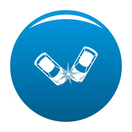 Hard collision icon. Simple illustration of hard collision vector icon for any design blue