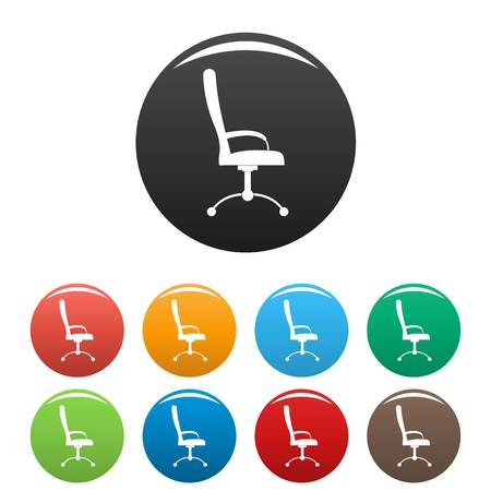 Massage chair icon. Simple illustration of massage chair vector icons set color isolated on white Vectores