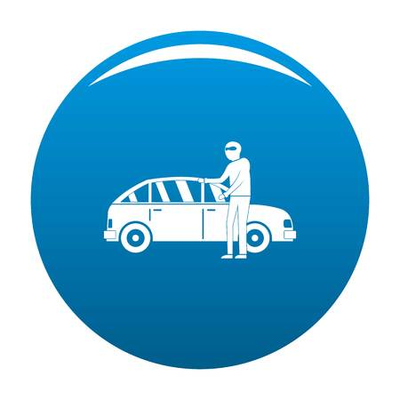 Hijacker icon. Simple illustration of hijacker vector icon for any design blue