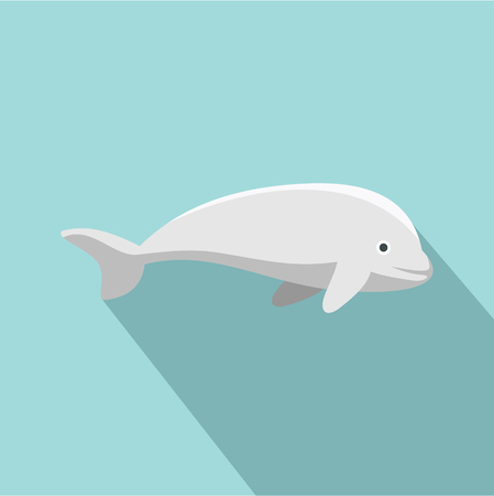 Beluga whale icon. Flat illustration of beluga whale vector icon for web design