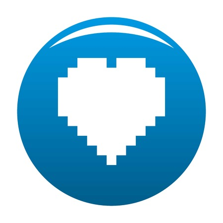 Pixel heart icon. Simple illustration of pixel heart vector icon for any design blue.