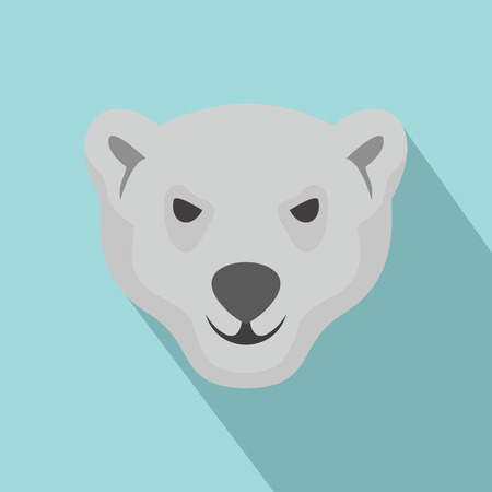 Hungry head of polar bear icon. Flat illustration of hungry head of polar bear vector icon for web design