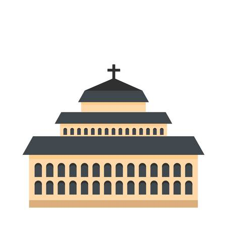 Tall church icon. Flat illustration of tall church vector icon for web.