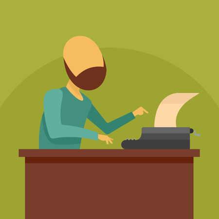 Man at typewriter icon. Flat illustration of man at typewriter vector icon for web design