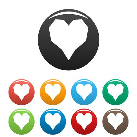Angular heart icon. Simple illustration of angular heart vector icons set color isolated on white