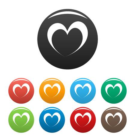 Frantic heart icon. Simple illustration offrantic heart vector icons set color isolated on white