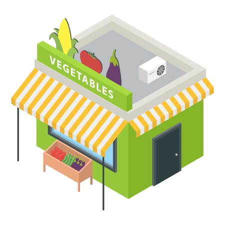 Vegetables market icon. Isometric of vegetables market vector icon for web design isolated on white background Illustration
