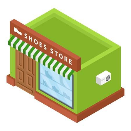 Icona del negozio di scarpe. Vista isometrica del negozio di scarpe icona vettoriali per il web design isolato su sfondo bianco Vettoriali