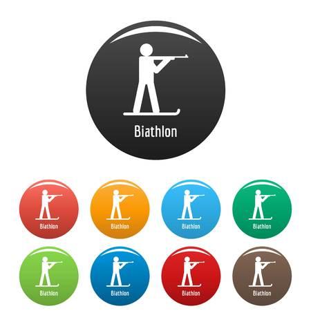 Biathlon icon. Simple illustration of biathlon vector icons set color isolated on white