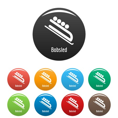 Bobsled icon. Simple illustration of bobsled vector icons set color isolated on white