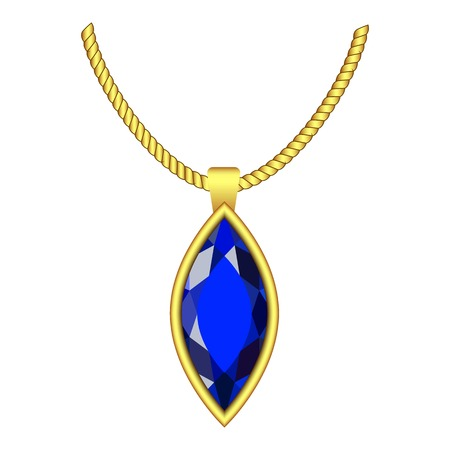 Sapphire jewelry icon. Realistic illustration of sapphire jewelry vector icon for web design isolated on white background Illustration