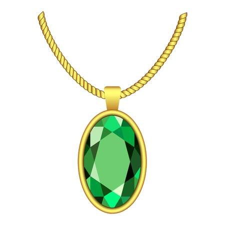Emerald necklace icon. 矢量图像