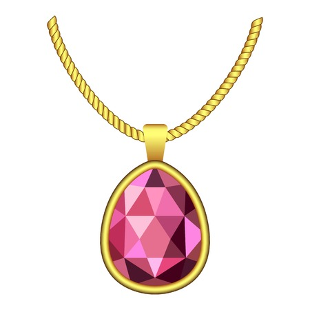 Garnet necklace jewelry icon. Realistic illustration of garnet necklace jewelry vector icon for web design isolated on white background