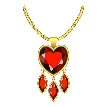Ruby heart jewelry icon. Realistic illustration of ruby heart jewelry vector icon for web design isolated on white background