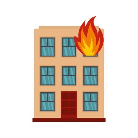 Brennendes Hausikone. Flache Illustration der brennenden Hausvektorikone für Web