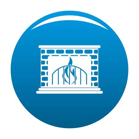 Fireplace icon. Simple illustration of fireplace vector icon for any design blue Illustration