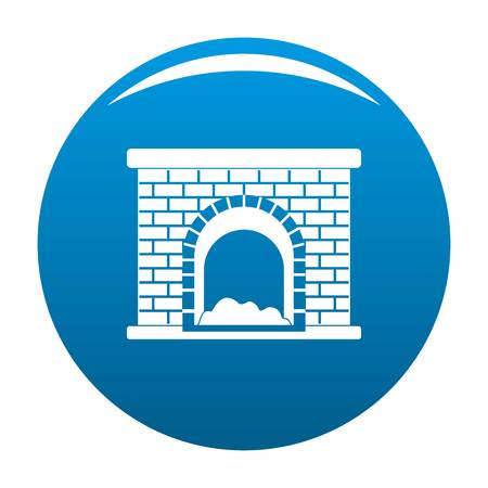 Brick fireplace icon. Simple illustration of brick fireplace vector icon for any design blue