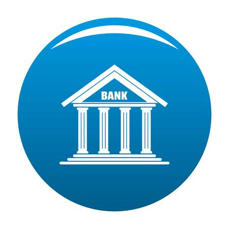 Bank icon. Simple illustration of bank vector icon for any design blue