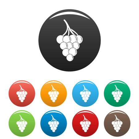 Small grape icon. Simple illustration of small grape vector icons set color isolated on white
