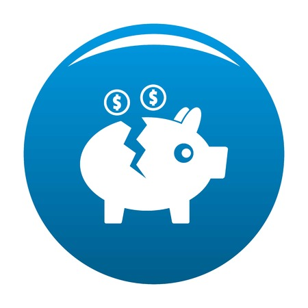 Piggy bank icon. Simple illustration of piggy bank vector icon for any design blue